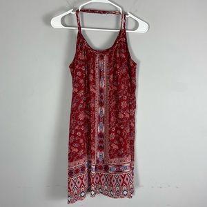 Hollister boho floral mini dress red